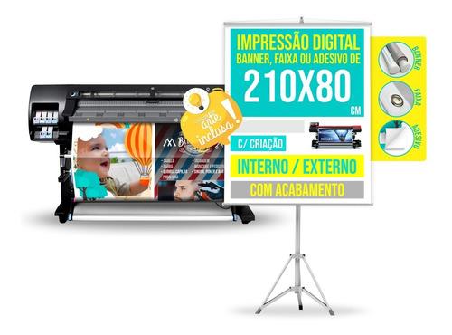 Imagem 1 de 3 de Banner Faixa Ou Adesivo C/ Criação 2,1 X 0,8 M / 210 X 80