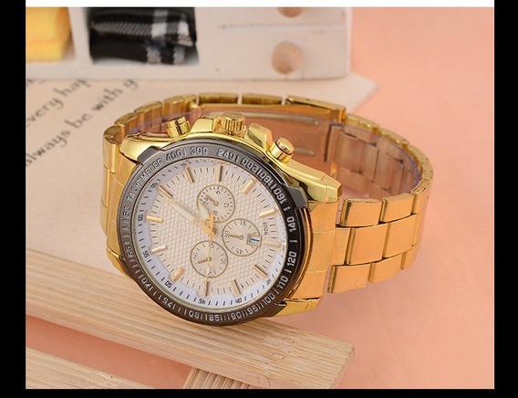 Relógio Masculino Luxo Quartz Analógico Dourado.