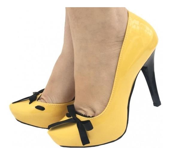 Sapato Feminino Salto Alto Fino Scarpin Princesas Meia Pata