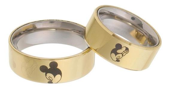 Aliança Em Moeda Antiga Mickey E Minnie Mouse 8 Mm