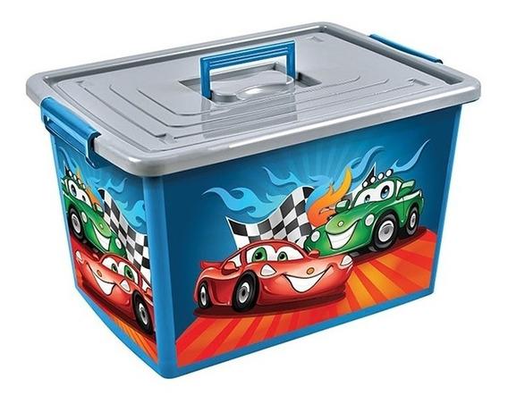 Bau Organizador Infantil Grande 50 Lts Carros Com Rodinhas A