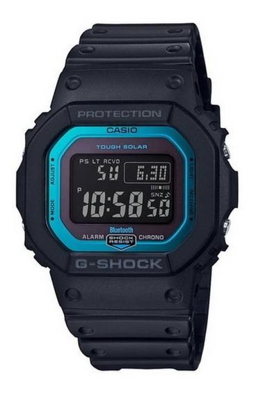 Relógio G-shock Gw B 5600 Preto E Azul Tough Solar Bluetooth