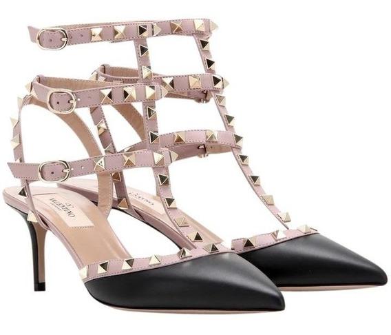 Sapato Scarpin Feminino 35 C Spikes Preto Grife Frete Gratis