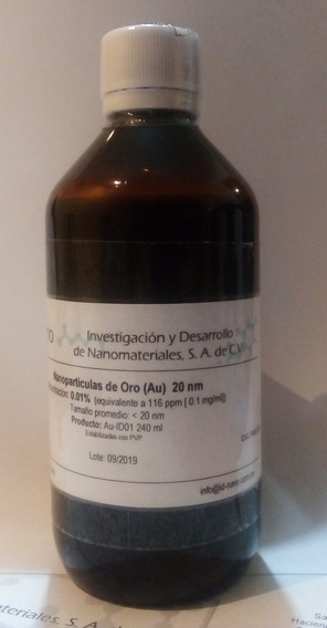 Oro Coloidal 20 Ppm 20 Nm 240 Ml