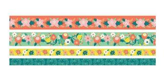 4 Cintas Adhesivas Flores Washi Tape Decora Pega Scrapbook