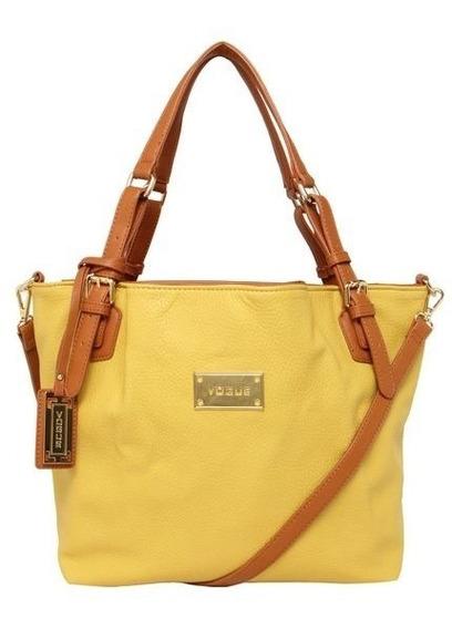 Bolsa Vogue Amarela E Caramelo