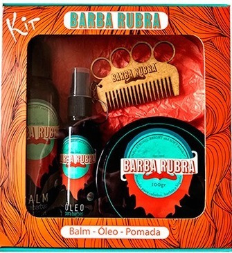 Kit Barba Rubra - Balm + Óleo + Pomada + Shampoo