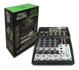 Mesa De Som Analógica 8 Canais Pro Bass Pl 804 Usb