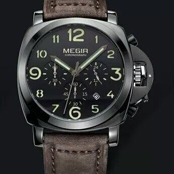 Relógio Megir 3406 Original Couro Prova D'água Quartzo