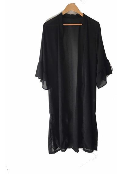 Kimono De Gasa Negro Con Transparencia Largo