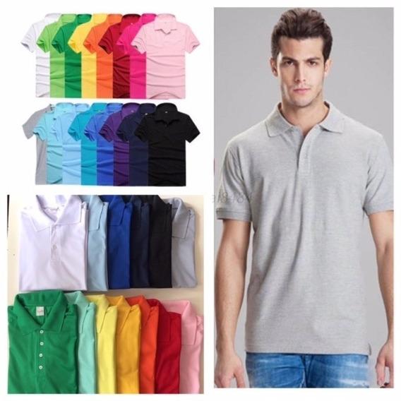5 Camisas Polo Masculina Piquet 100% Poliester