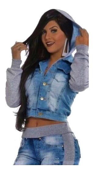 Jaqueta Jeans Moletom Casaco Capuz Agasalho Feminina