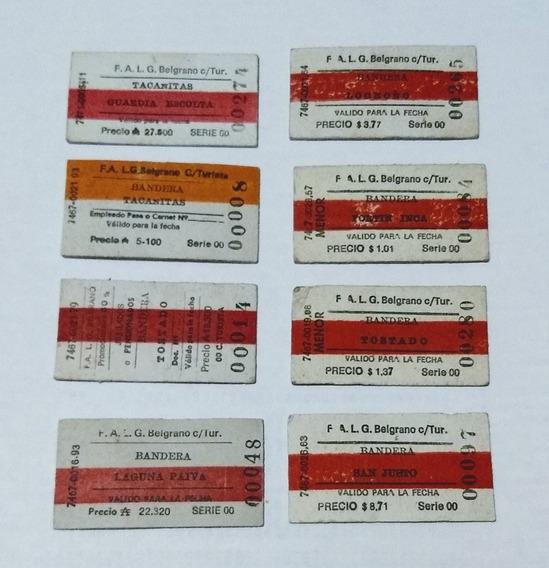 Lote 8 Boletos De Tren En Pesos Y Australes
