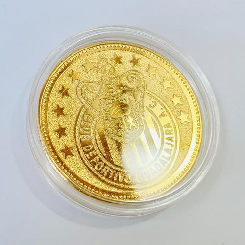 Imagen 1 de 7 de Moneda Club Chivas Guadalajara Baño Oro 14k Regalo Ideal