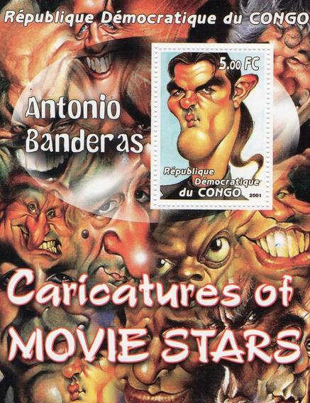Caricatura De Antonio Banderas - Hoja Estampilla Del Congo