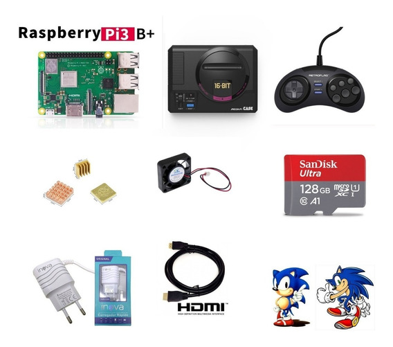 Mega Drive Mini Retroflag 19000 Jogos Sd 128gb 1 Controles