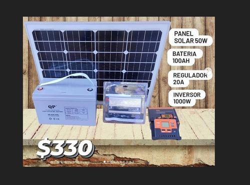 Kit De Energia Solar Panel Regulador Bateria E Inversor