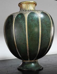 Christofle Vaso Art Deco De Bronze, Cerca De 1930 Verde