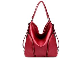 Bolsa-mochila Importada Linda De Couro Cor Vermelha 34x36x15