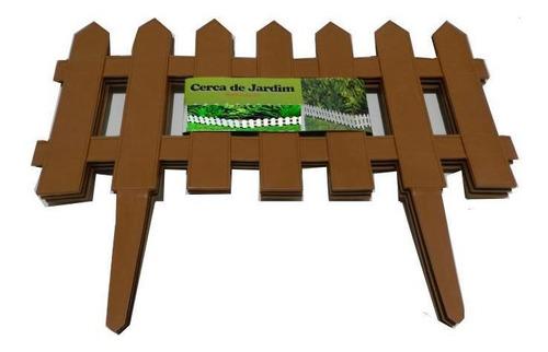 Kit 3 Cerca Plastica Decorativa Jardim Marrom 1,2 M