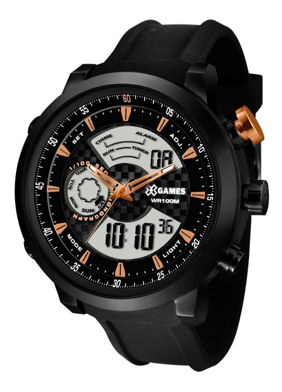 Relógio X-games Masculino Anadigi Xmspa017 P2px Preto Aço