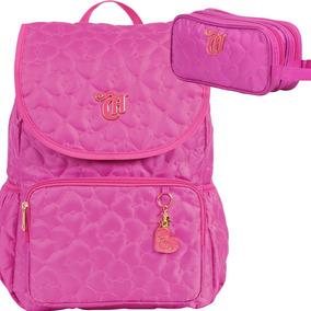 Kit Mochila Capricho Love Pink Rosa Estojo C/tampa