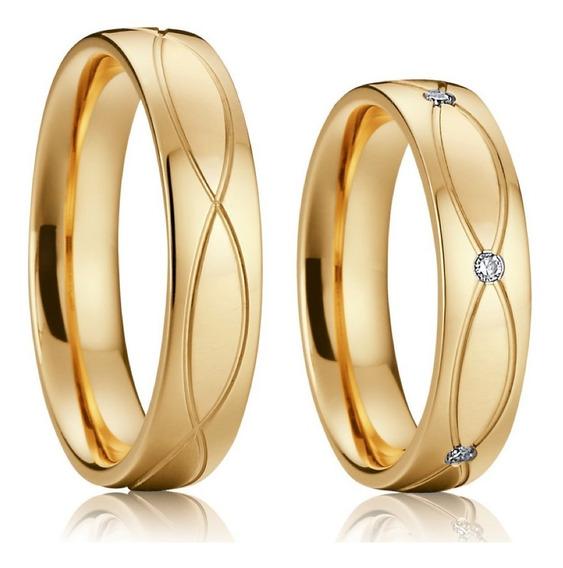 Par De Alianças Casamento Noivado Banhada Ouro 5mm Zircônia