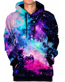 Blusa Moletom Bolso Lateral Galaxia Nebulosa Tumblr Universo