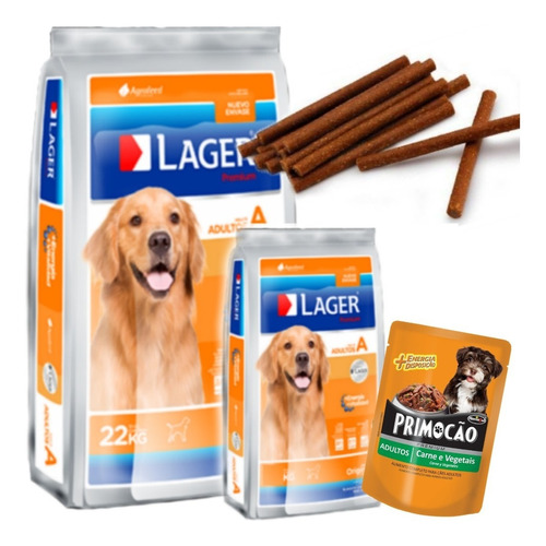 Imagen 1 de 2 de Alimento Lager Adulto 22 Kg + 3kg Con Pouch Premium Y Snacks