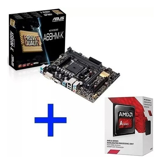 Kit Placa Mãe A68hm-k + Processador Amd A6 7480 3.5ghz Fm2+