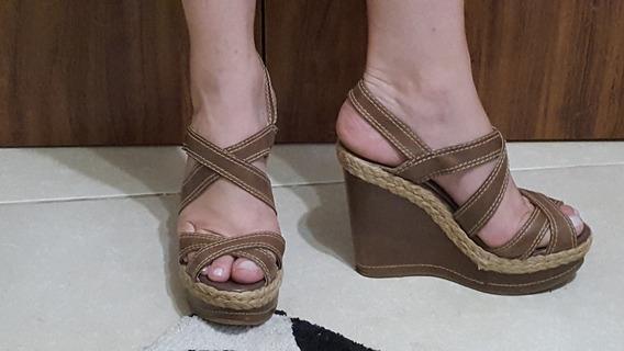 Sandália Anabela Com Tiras Caqui Casual