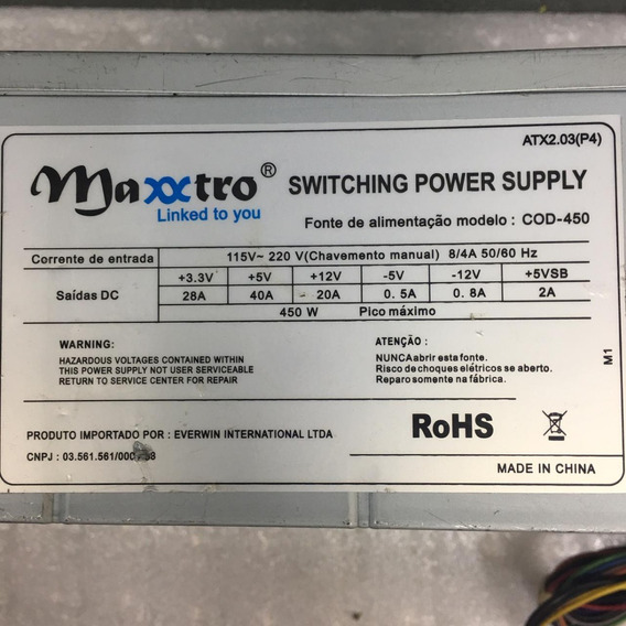 Fonte Maxxtro Model: Cod-450 24pinos 450w Sata Nominal Atx