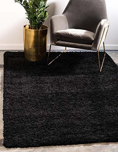 Imagen 1 de 7 de Alfombra Moderna De Peluche Colores Sólidos Negro Azabache