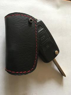 Protector Control Tipo Navaja 100% Cuero Llavero Forro Negro