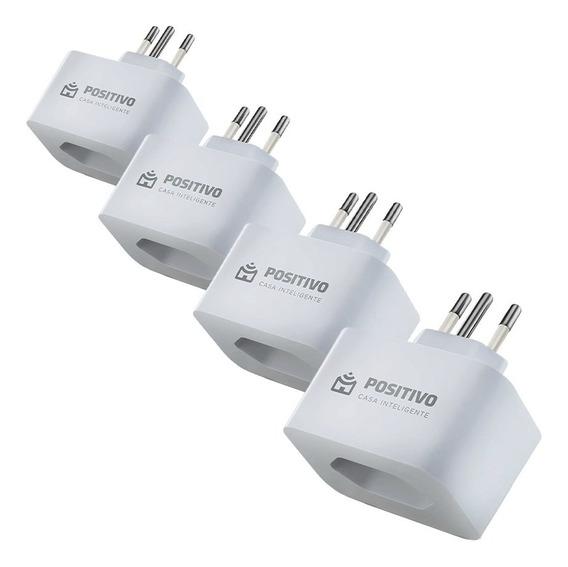 4 Tomadas Smart Plug Wi-fi Positivo Casa Inteligente Branco