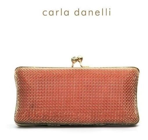 Sobre Fiesta Cartera Clucht Naranja Mujer Carla Danelli