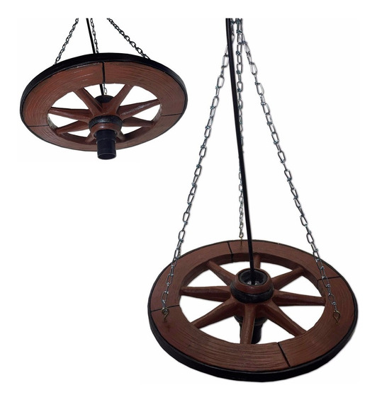 Pendente Luminaria Teto Cozinha Rustica Roda Carroça Resina