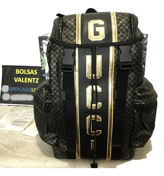 Mochila Gucci Dapper Dan Backpack Gg Negra Supreme X En Caja