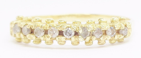 Meia Aliança Diamantes Ouro 18k