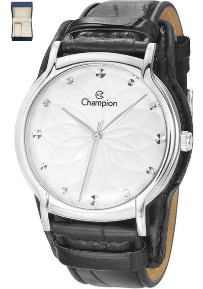 Relógio Feminino Champion Original Colar Brinco Cn20364c