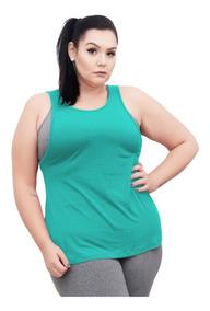 Roupa Feminina Camiseta Regata Cavada Fitness Plus Size