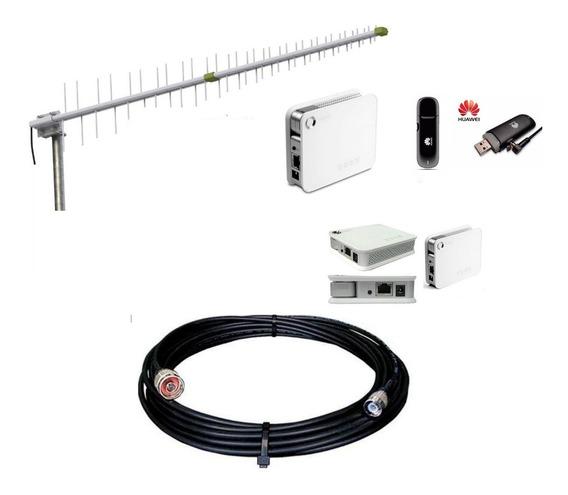 Kit Rural Alto Ganho | Roteador Wifi Modem Cabo 15mt Antena