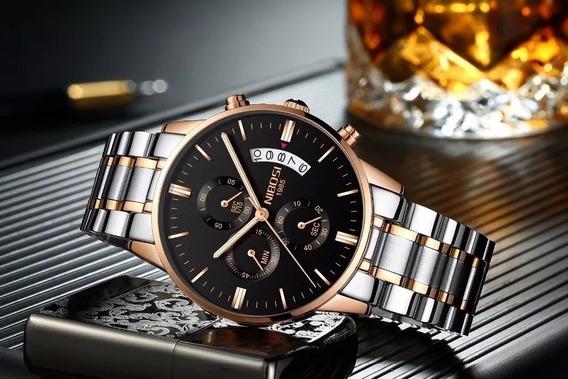 Relógio Masculino Nibosi Prata E Bronze + Frete Grátis