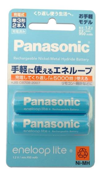 2 Pilhas Aa Panasonic Eneloop Lite - Recarregável Original