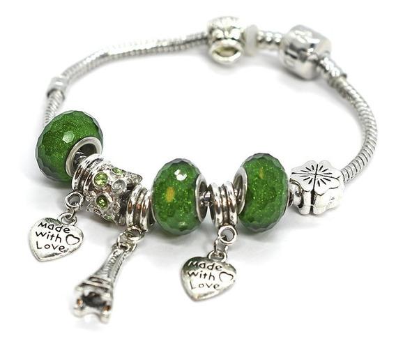 Pulsera Dama Tipo Pandora Corazón Piedras Finas Verde 42925