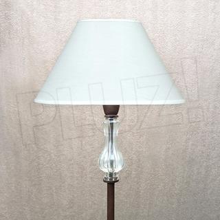 Lámpara De Pie Cuello Vidrio C/ Pantalla Tela - Hierro Óxido