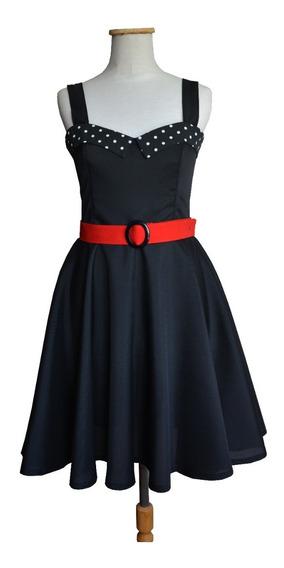 Vestido Pin Up Lunares Negro Falda Plato Cinto Moño Retro