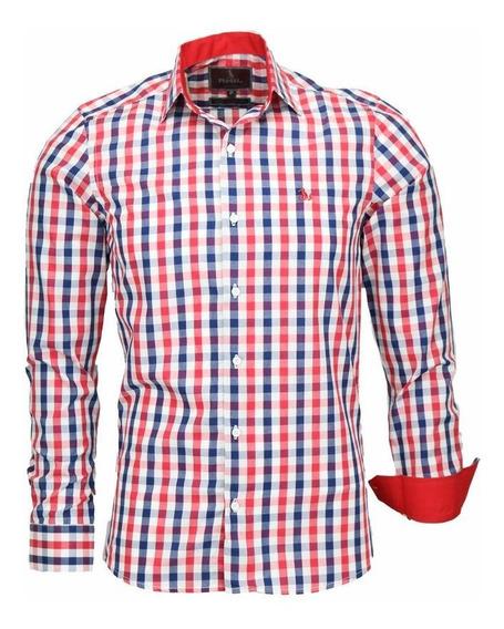 Camisa Boston Manga Longa Slim Xadrez Algodão Fio 50 Cor