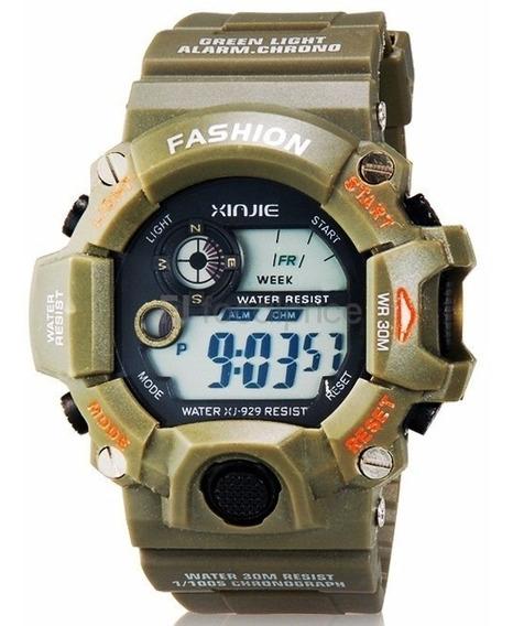 Reloj Quarzo Xinjie X-sport Verde Militar Deportivo