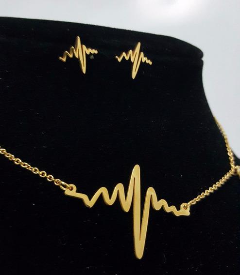 Fina Cadena Aretes Acero Inoxidable Electrocardiograma 3015